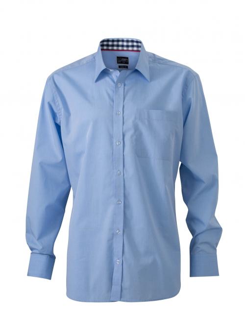 jn619 plain shirt lichtblauw